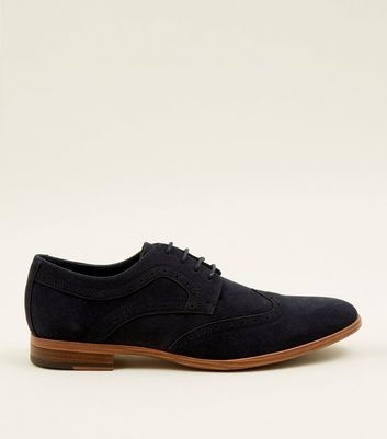 Navy Faux Suede Lace Up Brogues