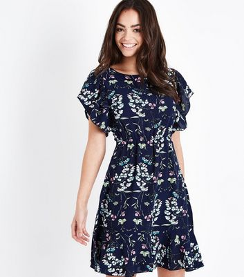 33c4ef39fdd4 ax-paris-blue-floral-frill-sleeve-skater-dress-.jpg