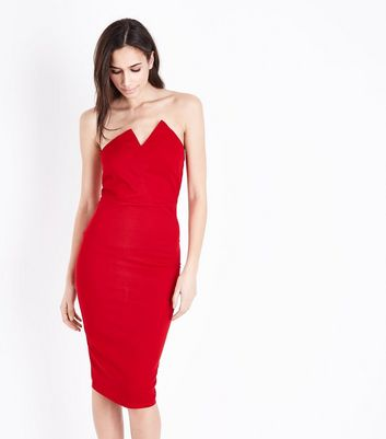 AX Paris Red Asymmetric Notch Neck Dress