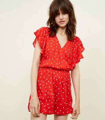 JDY Red Spot Print Playsuit