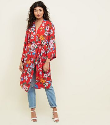 JDY Red Floral Belted Longline Kimono New Look