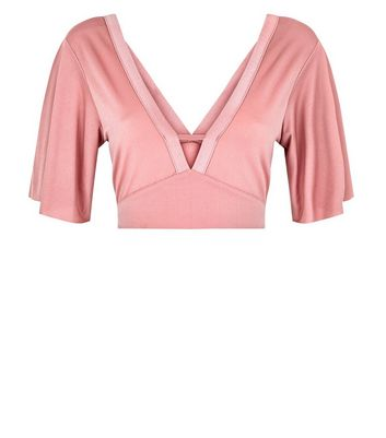 Pink Cape Sleeve Bar Front Crop Top New Look