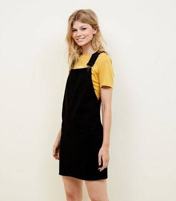 Petite Black Denim Pinafore Dress