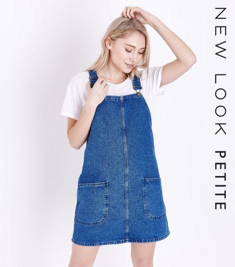 0ccccb5b416 ... Petite - Robe chasuble en jean bleu ...