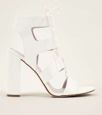 White Leather-Look Ghillie Block Heels