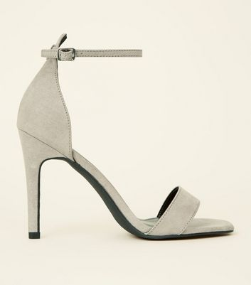 Grey Suedette Square Toe Two Part Sandals