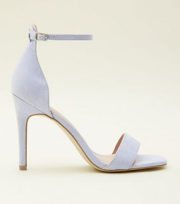 Lilac Suedette Square Toe Heeled Sandals
