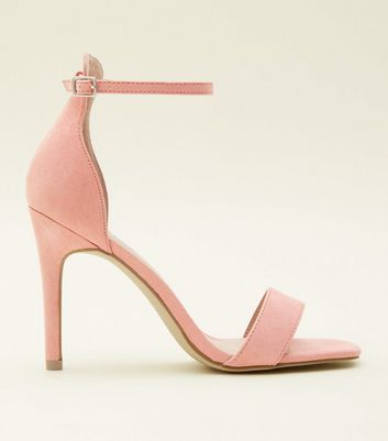 Coral Suedette Square Toe Heeled Sandals