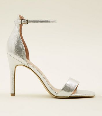 Silver Shimmer Ankle Strap Stiletto Sandals