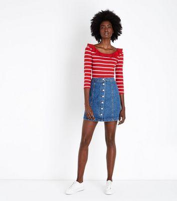 Tall Blue Denim Button Front Mini Skirt New Look
