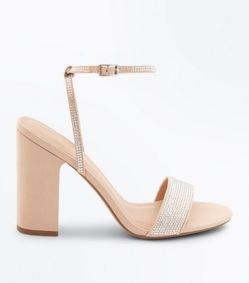Nude Diamanté Strap Block Heeled Sandals