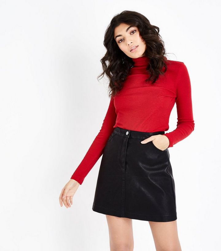 827009121 Black Leather-Look 5 Pocket Mini Skirt | New Look
