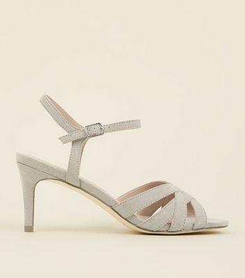Grey Suedette Twist Strap Kitten Heel Sandals by New Look