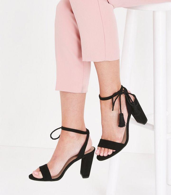 dfefd8ffb6e ... Black Suedette Tassel Ankle Tie Block Heels. ×. ×. ×. Shop the look