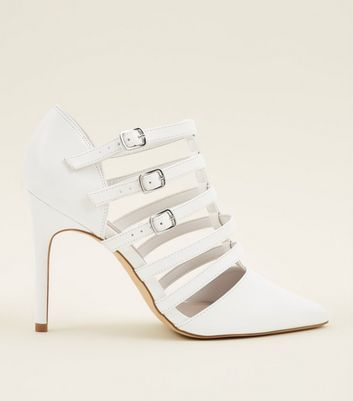 Wide Fit White Leather-Look Caged