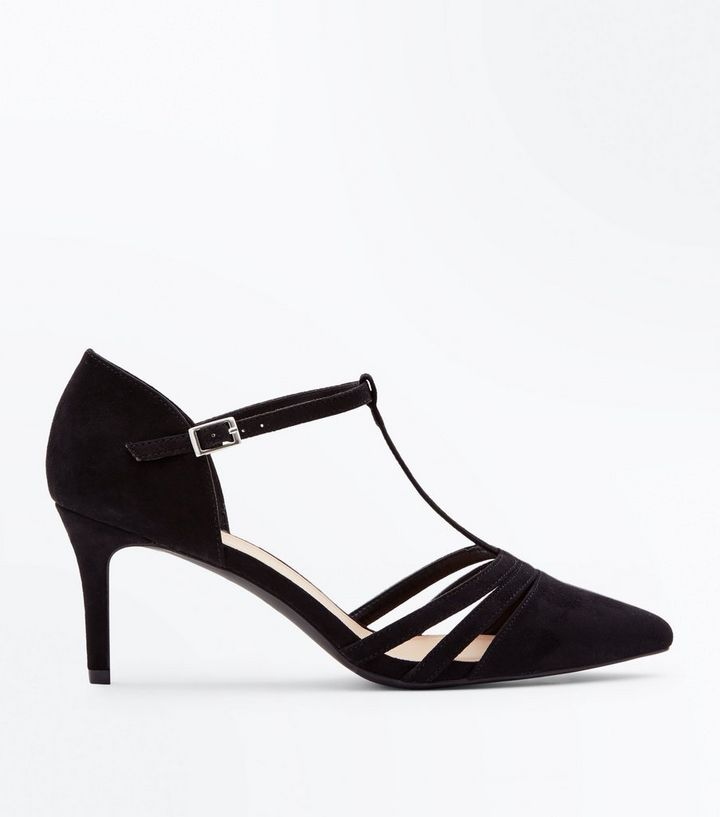 ea339813b5e Wide Fit Black Suedette T-Bar Pointed Courts Add to Saved Items Remove from  Saved Items