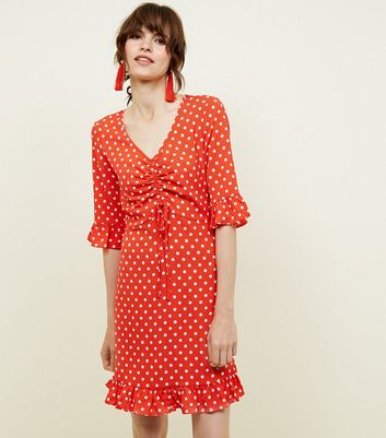 blue vanilla red polka dot tea dress new look