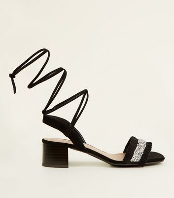 Girls Black Crystal Fringe Strap Ankle Tie Sandals