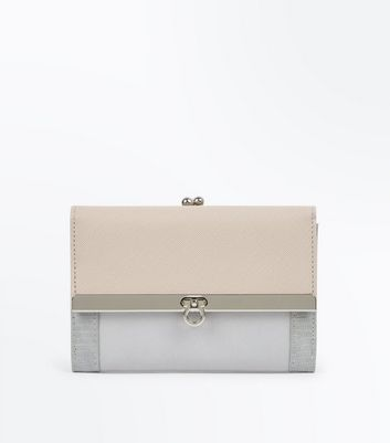 Pale Pink Contrast Lock Front Purse