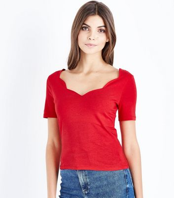 Red Scallop Neck T-Shirt New Look