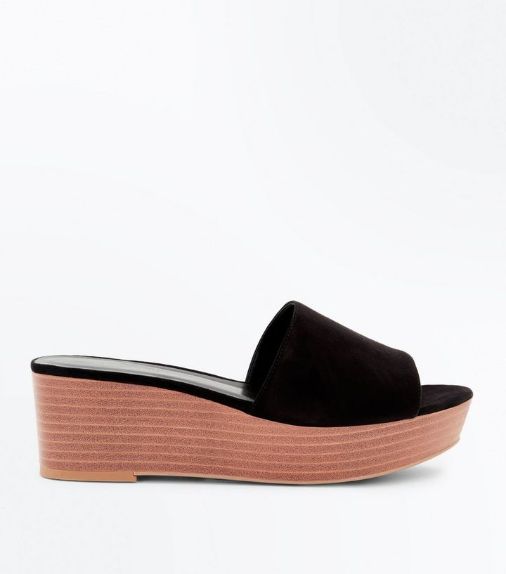 025cd8676a2e Black Suedette Wood Flatform Sliders
