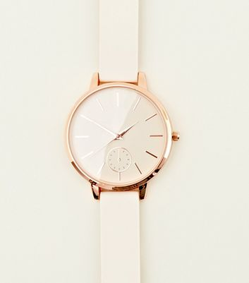 Rose Gold Silicone Strap Watch