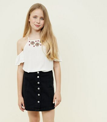 Girls Black Button Front Denim Skirt