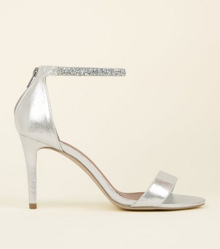 afc422e53ee Wide Fit Silver Crystal Strap Wedding Sandals