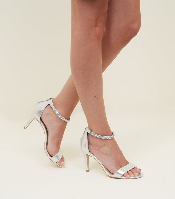 5038e26bde99 ... Wide Fit Silver Crystal Strap Wedding Sandals. ×. ×. ×. Shop the look