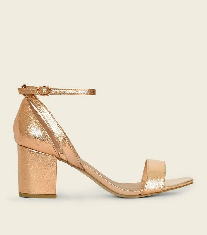 bf65f6f76f4d Wide Fit Rose Gold Cut Out Mid Heel Sandals