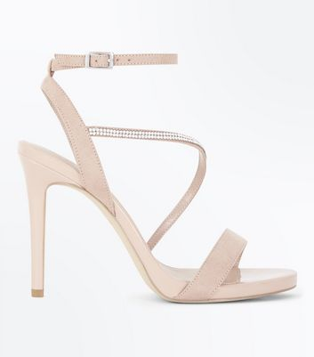 Wide Fit Cream Suedette Crystal Trim Stilettos