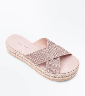 Rose Gold Diamanté Strap Espadrille Flatform Sliders