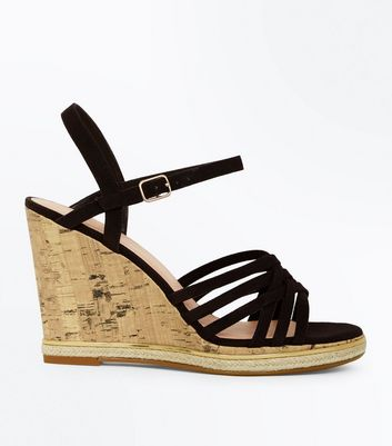 Wide Fit Black Cross Strap Wedges | New