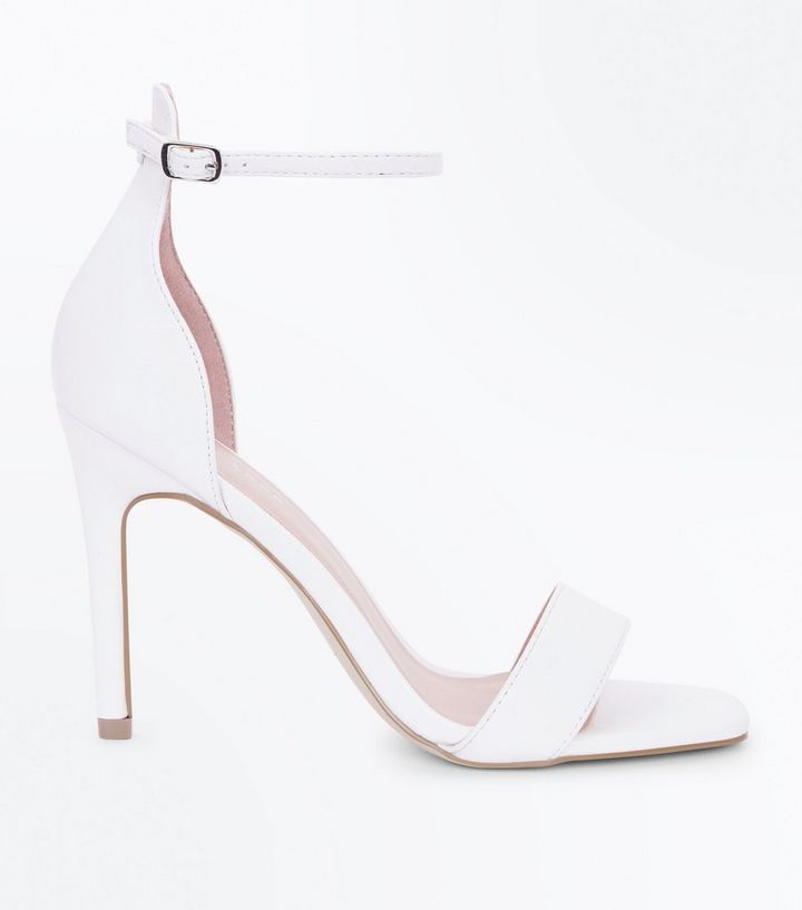 ad8c0acc2a8 White Leather-Look Square Toe Stiletto Sandals