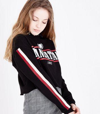 Teens Black Manhattan Stripe Tape Sleeve Hoodie New Look