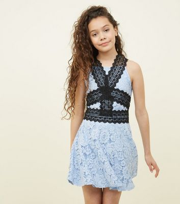 Girls Pale Blue Contrast Lace Skater Dress