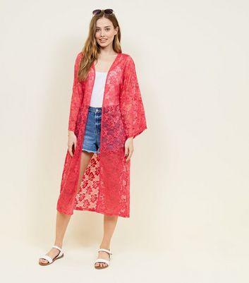 Mela Deep Pink Maxi Lace Long Sleeve Kimono New Look