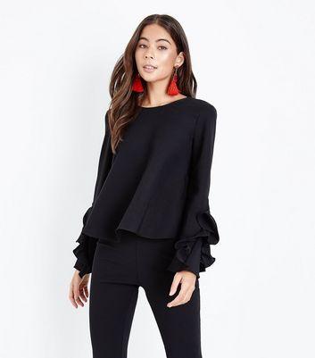 Mela Black Frill Sleeve Top New Look