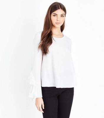 Mela Cream Frill Sleeve Top
