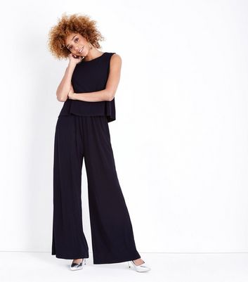 Mela Navy Layered Culotte Jumpsuit