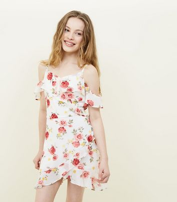 Girls White Floral Asymmetric Frill Trim Dress