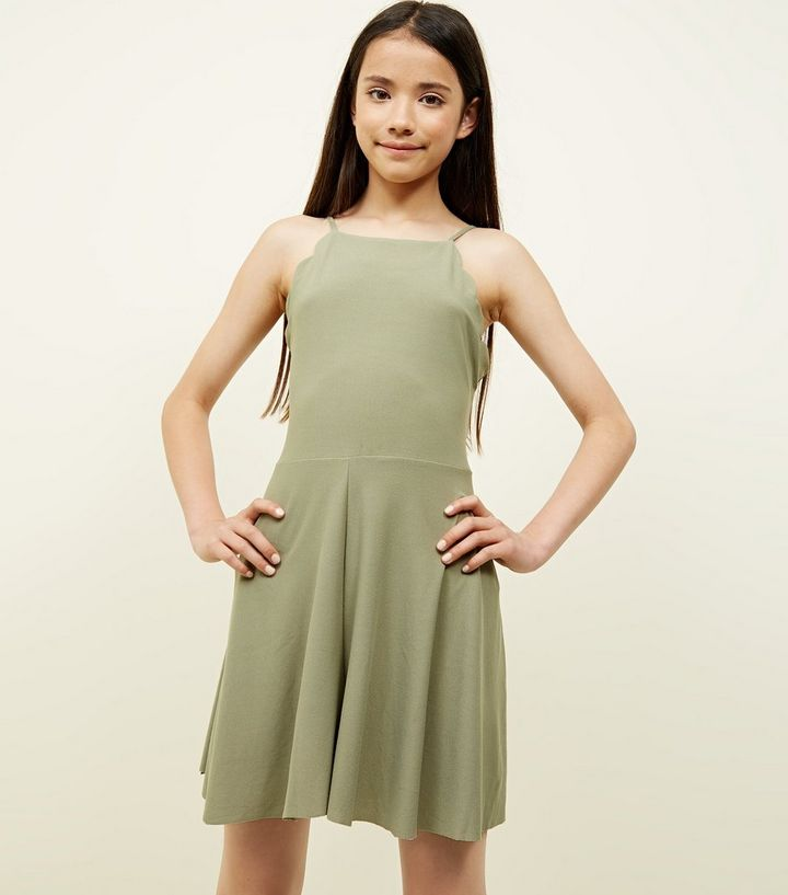 f3fec9240b Girls Khaki Scallop Hem Jersey Playsuit