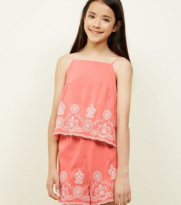 Girls Coral Floral Embroidered Layered Playsuit