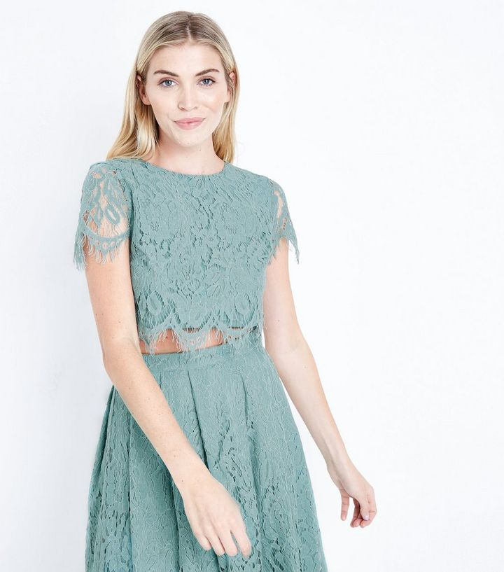 5032d91e7c Light Green Lace Crop Top | New Look