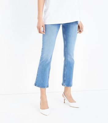 Maternity Blue Over Bump Cropped Kick Flare Jeans New Look