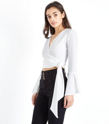 Petite Off White Wrap Front Ribbed Crop Top