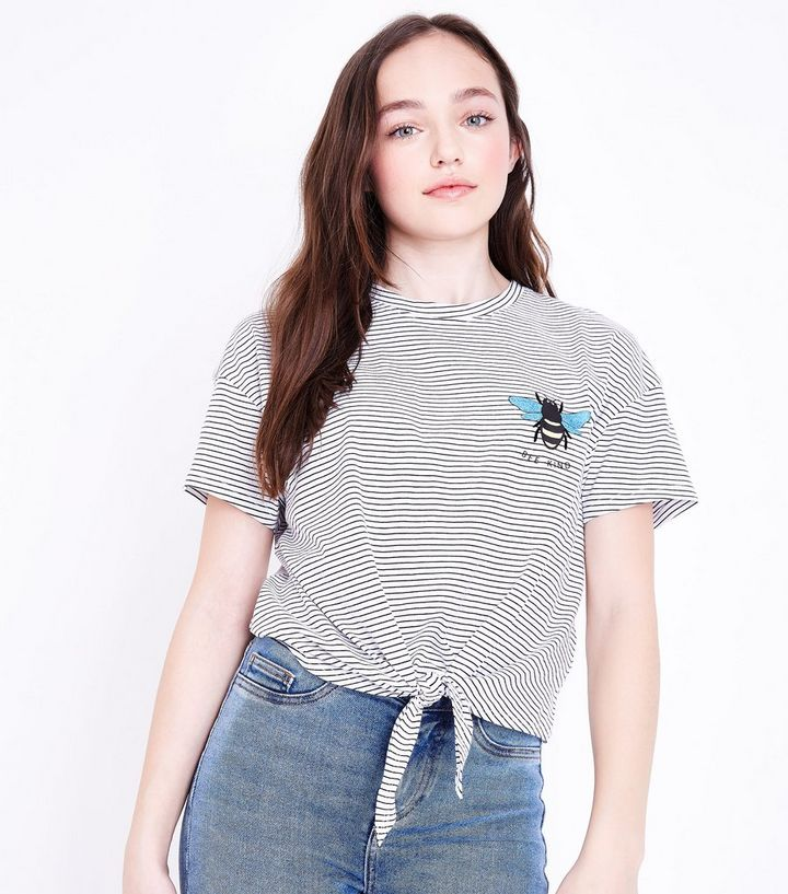 6456be99bc597 Girls White Stripe Bee Kind Embroidered Tie Front T-Shirt