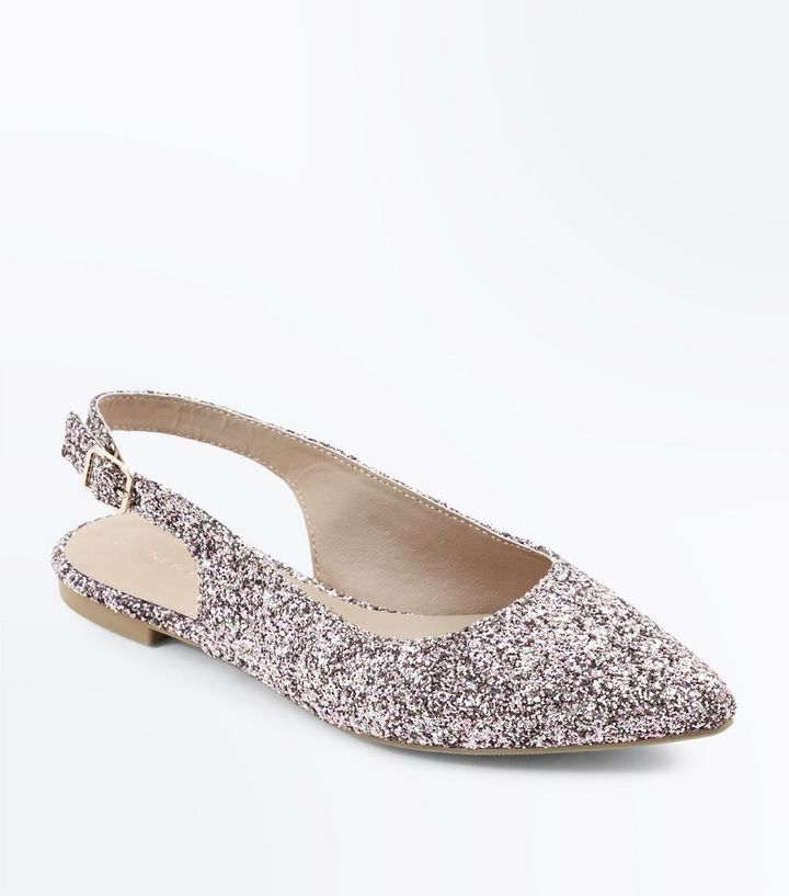 9fb038c840a Rose Gold Glitter Slingback Pointed Pumps