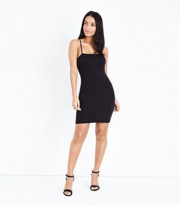 Black Tie Side Wrap Bodycon Dress New Look