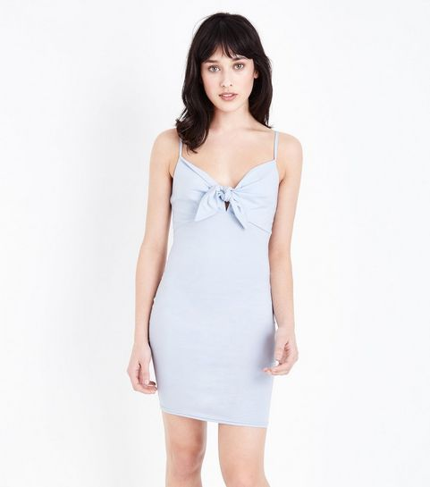 761267a414f ... Blue Tie Front Bodycon Dress ...